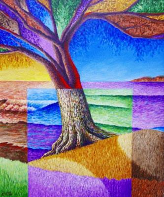 """Titre """"L'ombre d'un ami à la plage"""" (2011) / 61 cm x 51 cm / Peinture à l'acrylique sur toile / Prix: 1900€"""