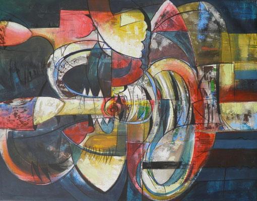 """Titre """"La Comparsa"""" (2013) / 146 cm x 114 cm / Peinture à l'acrylique sur toile / Prix: 9000€"""