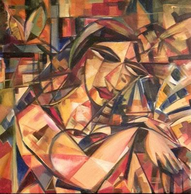 """Titre """"Poetess"""" (2014) / 60 cm x 40 cm / Peinture à l'acrylique sur toile / Prix: 1800€"""