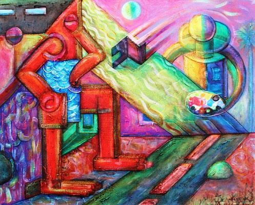"""Titre """"El pintor de las Mujeres Soles"""" (2015) / 51 cm x 40 cm / Peinture à l'acrylique sur toile / Prix: 2900€"""