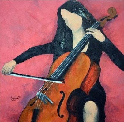 """Titre """"The Cello Player N°6"""" (2013) / 91 cm x 91 cm / Peinture à l'acrylique sur toile / Prix: 2000€"""
