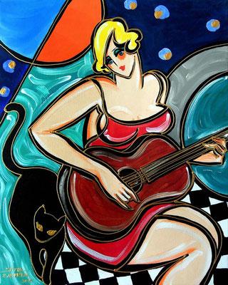 """Titre """"Fille à la guitare"""" (2015) / 50 cm x 40 cm / Peinture à l'acrylique sur toile / Prix: 1000€"""