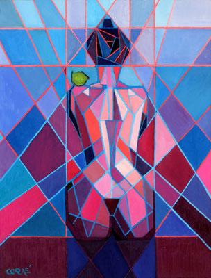 """Titre """"Cubistic Woman N°1"""" (2010) / 66 cm x 51 cm / Peinture à l'huile sur panneau en bois / Prix: 3800€"""