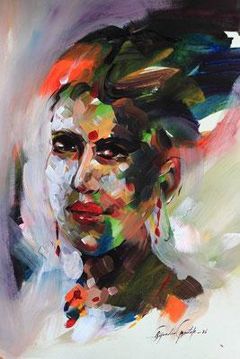 """""""Emotion N°6"""" (2016) / 46 cm x 33 cm / Acrylique sur papier / Prix : 950 €"""