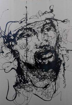 """""""Man III"""" (2013) / 94 cm x 64 cm / Glycérophtalique sur papier / Prix : 1500€"""