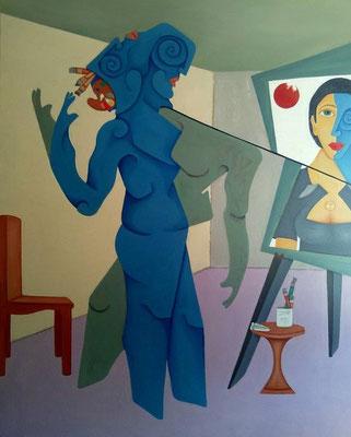 """Titre """"While making Mihaela"""" (2015) / 152 cm x 122 cm / Peinture à l'huile sur toile / Prix: 7800€"""