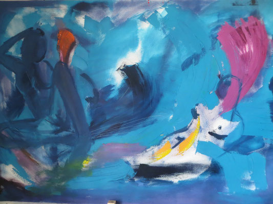 """Titre """"Abstracto Turquesa"""" (2014) / 140 cm x 100 cm / Peinture à l'huile sur toile / Prix: 3900€"""