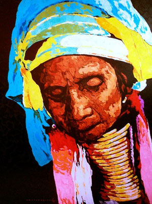 """Titre """"Padaung People N°5"""" (2015) / 122 cm x 91 cm / Peinture à l'acrylique sur toile / Prix: 5600€"""