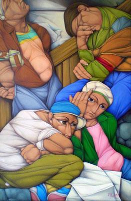 """Titre """"Los sin Trabajo"""" (2014) / 110 cm x 70 cm / Peinture à l'huile sur toile / Prix: 21 000€"""