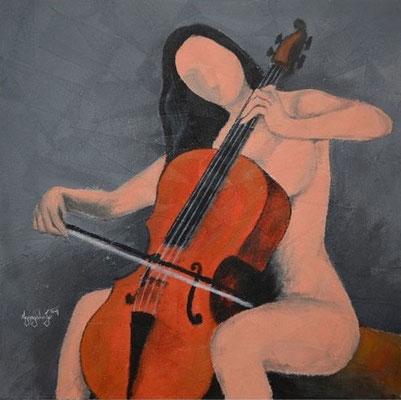 """Titre """"The Cello Player N°1"""" (2014) / 91 cm x 91 cm / Peinture à l'acrylique sur toile / Prix: 2500€"""