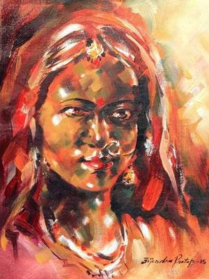 """Titre """"Indian Bride N°1"""" (2015) / 41 cm x 30 cm / Peinture à l'huile sur toile / Prix: 1400€"""