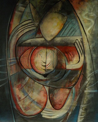 """Titre """"Encuentro"""" (2013) / 146 cm x 114 cm / Peinture à l'acrylique sur toile / Prix: 4200€"""