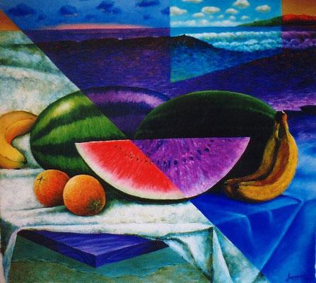 """Titre """"Nature morte à l'horizon"""" (1998) / 96 cm x 91 cm / Peinture à l'acrylique sur toile / Prix: 4500€"""