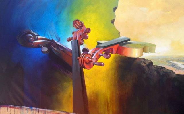 """Titre """"Obertura al cielo"""" (2014) / 213 cm x 122 cm / Peinture à l'acrylique sur toile / Prix: 18 000€"""