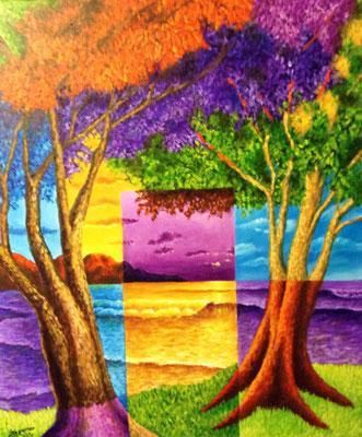 """Titre """"Deux voisins à la porte du soir"""" (2014) / 61 cm x 51 cm / Peinture à l'acrylique sur toile / Prix: 2200€"""