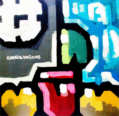"""Titre """"At the right time"""" (2015) / 80 cm x 80 cm / Peinture à l'huile sur panneau en bois / Prix: 5300€"""