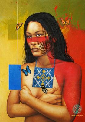 """Titre """"Like a Tattoo"""" (2014) / 89 cm x 63 cm / Technique mixte : peinture à l'acrylique et à l'huile sur toile / Prix: 3000€"""