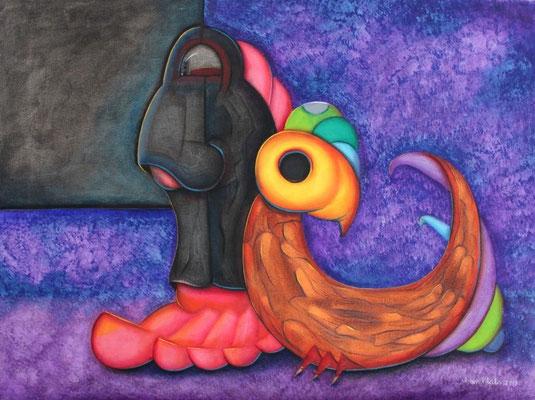 """Titre """"Es Finge"""" (2013) / 61 cm x 46 cm / Media mixte: peinture à l'acrylique et à l'huile sur toile / Prix: 1400€"""