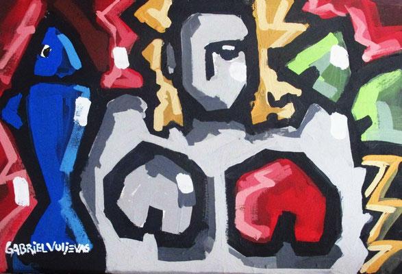 """Titre """"Pesce Donna e Diamante"""" (2015) / 90 cm x 60 cm / Peinture à l'huile sur panneau en bois / Prix: 7300€"""