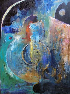 """Titre """"Dragon"""" (2013) / 120 cm x 90 cm / Peinture à l'huile sur toile / Prix: 7700€"""