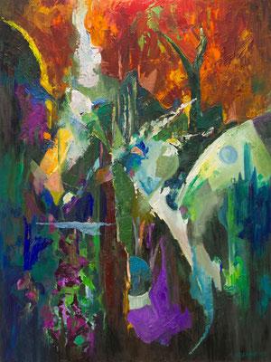 """Titre """"Nouvelle Lune"""" (2015) / 120 cm x 90 cm / Peinture à l'huile sur toile / Prix: 7800€"""