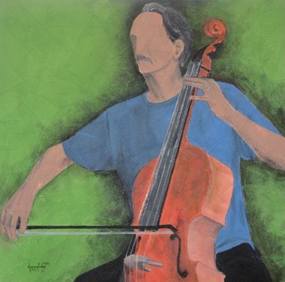 """Titre """"The Cello Player N°2"""" (2014) / 91 cm x 91 cm / Peinture à l'acrylique sur toile / Prix: 2200€"""