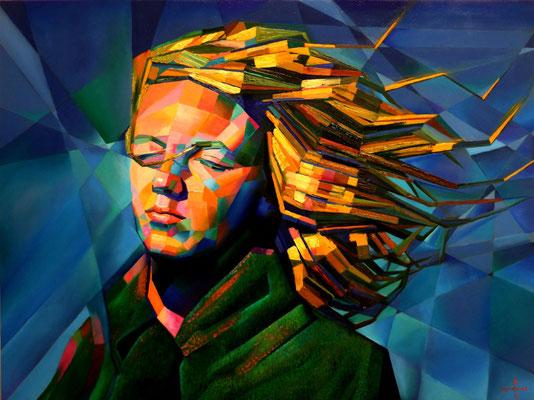 """Titre """"Marilyn Monroe"""" (2014) / 80 cm x 60 cm / Peinture à l'huile sur panneau en bois / Prix: 5200€"""