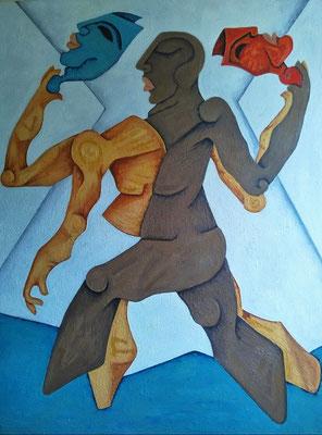 """Titre """"The Masks of Life"""" (2015) / 102 cm x 76 cm / Peinture à l'huile sur toile / Prix: 4900€"""