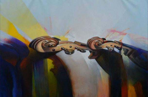 """Titre """"Gran duo de cuerdas"""" (2014) / 213 cm x 122 cm / Peinture à l'acrylique sur toile / Prix: 17 000€"""