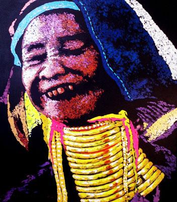 """Titre """"Padaung People N°1"""" (2015) / 91 cm x 76 cm / Peinture à l'acrylique sur toile / Prix: 4500€"""