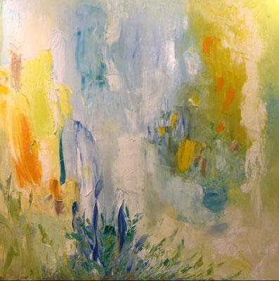 """Titre """"Stepping into Clarity"""" (2014) / 122 cm x 122 cm / Peinture à l'huile sur toile / Prix: 8900€"""