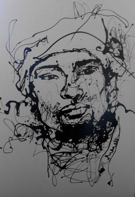 """""""Man II"""" (2013) / 94 cm x 64 cm / Glycérophtalique sur papier / Prix : 1400€"""