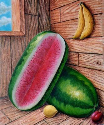 """Titre """"Le coin aux fruits"""" (2008) / 61 cm x 51 cm / Peinture à l'acrylique sur toile / Prix: 1900€"""