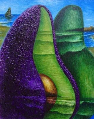"""Titre """"A coeur ouvert"""" (2011) / 51 cm x 41 cm / Peinture à l'acrylique sur toile / Prix: 1700€"""