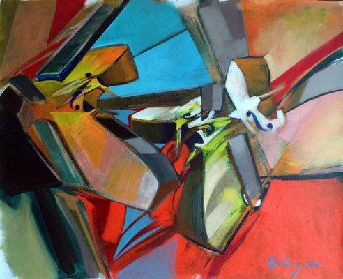 """Titre """"Triada Dinamica"""" (2013) / 65 cm x 54 cm / Peinture à l'acrylique sur toile / Prix: 2800€"""