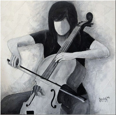 """Titre """"The Cello Player N°5"""" (2014) / 91 cm x 91 cm / Peinture à l'acrylique sur toile / Prix: 2300€"""