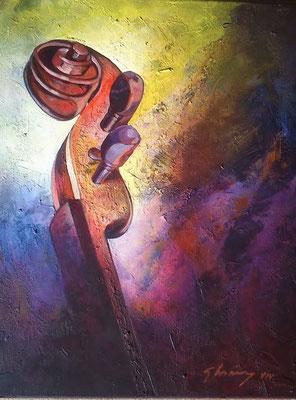 """Titre """"Alzado sobre las sombras"""" (2015) / 51 cm x 41 cm / Peinture à l'acrylique sur toile / Prix: 1600€"""