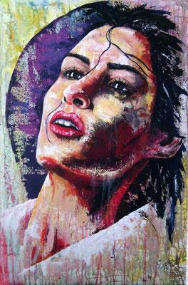 """Titre """"Retrato de un suspiro"""" (2015) / 90 cm x 60 cm / Peinture à l'acrylique sur toile / Prix: 1900€"""