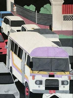 """Titre """"Yangon Road N°1"""" (2014) / 122 cm x 91 cm / Peinture à l'acrylique sur toile / Prix: 2300€"""