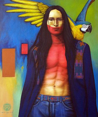 """Titre """"Brother of Mine"""" (2014) / 119 cm x 99 cm / Technique mixte : peinture à l'acrylique et à l'huile sur toile / Prix: 13 000€"""