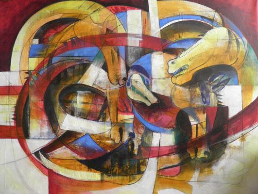 """Titre """"Carrera en la mesa"""" (2012) / 146 cm x 114 cm / Peinture à l'acrylique sur toile / Prix: 11 000€"""