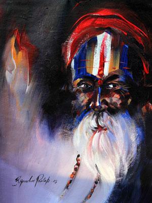 """Titre """"An Indian Sage N°9"""" (2015) / 41 cm x 30 cm / Peinture à l'acrylique sur toile / Prix: 1400€"""