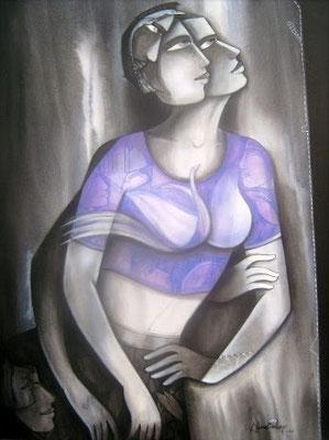 """Titre """"Life N°11"""" (2014) / 122 cm x 91 cm / Peinture à l'acrylique sur toile / Prix: 3400€"""