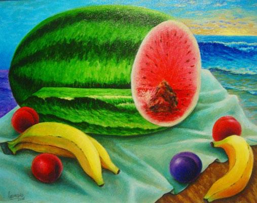 """Titre """"Une vague dans le melon"""" (2006) / 46 cm x 35 cm / Peinture à l'acrylique sur toile / Prix: 1500€"""
