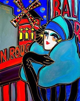"""Titre """"Bal du Moulin Rouge"""" (2015) / 50 cm x 40 cm / Peinture à l'acrylique sur toile / Prix: 1500€"""
