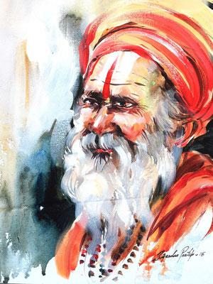 """Titre """"An Indian Sage N°11"""" (2015) / 41 cm x 30 cm / Peinture à l'acrylique sur toile / Prix: 1200€"""