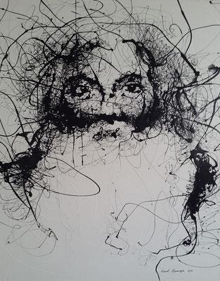 """Titre """"Wisdom Stare V"""" (2014) / 172 cm x 146 cm / Peinture glycérophtalique sur toile / Prix: 8200 €"""