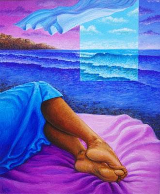 """Titre """"La chambre bleue"""" (2011) / 61 cm x 51 cm / Peinture à l'acrylique sur toile / Prix: 2300€"""