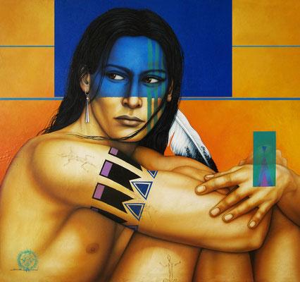 """Titre """"Into the Wind"""" (2014) / 109 cm x 99 cm / Technique mixte : peinture à l'acrylique et à l'huile sur toile / Prix: 11 000€"""