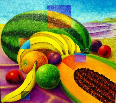 """Titre """"Quatre carrés cachés dans une nature morte"""" (2014) / 51 cm x 46 cm / Peinture à l'acrylique sur toile / Prix: 1900€"""
